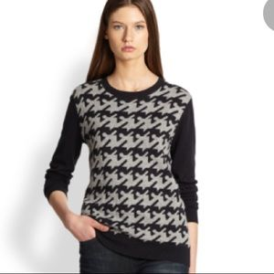 Joie gray houndstooth crew neck sweater size small